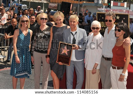 LOS ANGELES, CA - SEPTEMBER 4, 2012: Ellen DeGeneres & Portia De Rossi & family on Hollywood Blvd where she was honored with the 2,477th star on the Hollywood Walk of Fame.