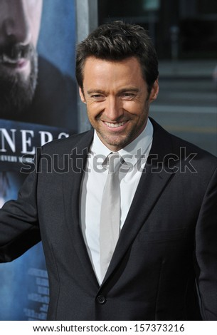 "LOS ANGELES, CA - SEPTEMBER 12, 2013: Hugh Jackman at the premiere of his movie ""Prisoners"" at the Academy of Motion Picture Arts & Sciences in Beverly Hills.  - stock photo"