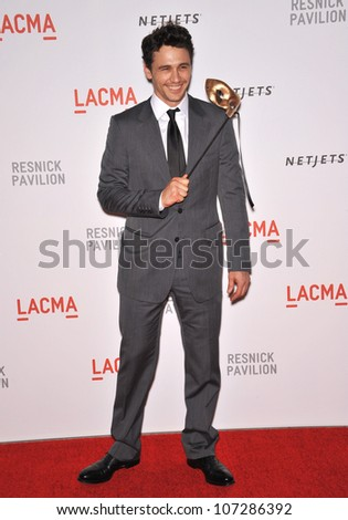 LOS ANGELES, CA - SEPTEMBER 25, 2010: James Franco at a benefit gala at  LACMA for the opening of  The Lynda & Stewart Resnick Exhibition Pavilion in Los Angeles, CA.
