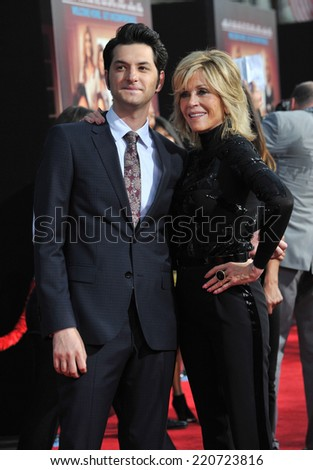 "LOS ANGELES, CA - SEPTEMBER 15, 2014: Jane Fonda & Ben Schwartz at the Los Angeles premiere of their movie ""This Is Where I Leave You"" at the TCL Chinese Theatre, Hollywood.  - stock photo"