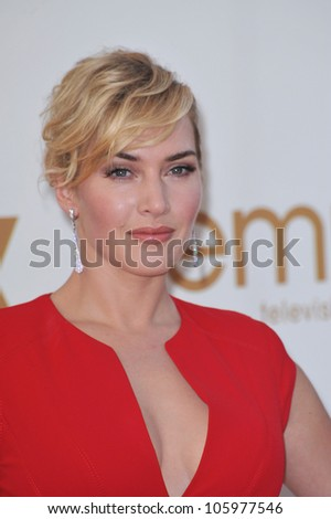 LOS ANGELES, CA - SEPTEMBER 18, 2011: Kate Winslet at the 2011 Primetime Emmy Awards at the Nokia Theatre, L.A. Live. September 18, 2011  Los Angeles, CA - stock photo