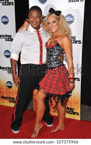 LOS ANGELES, CA - SEPTEMBER 20, 2010: Kyle Massey & Lacey Schwimmer at the Season 11 premiere of ABC's Dancing With The Stars at CBS Television City, Los Angeles.