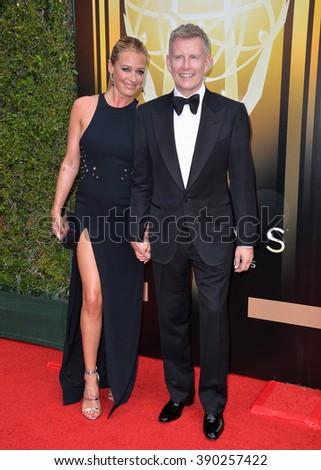 LOS ANGELES, CA - SEPTEMBER 12, 2015: Presenter Cat Deeley & comedian Patrick Kielty at the Creative Arts Emmy Awards 2015 at the Microsoft Theatre LA Live. - stock photo