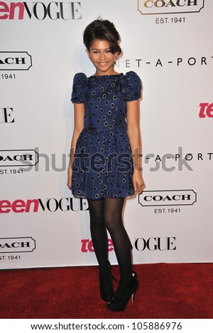 LOS ANGELES, CA - SEPTEMBER 23, 2011: Zendaya Coleman at the 9th Annual Teen Vogue Young Hollywood Party at Paramount Studios, Hollywood. September 23, 2011  Los Angeles, CA - stock photo