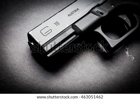 Los Angeles, CA, USA - AUGUST 03, 2016: Glock 19 semi 9x19mm pistol - weapon by law enforcement professionals around the globe.