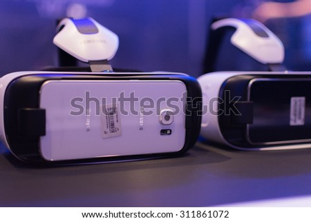 Los Angeles, CA - USA - August 29, 2015: Virtual headsets during VRLA Expo, virtual reality exposition, event at the Los Angeles Convention Center in Los Angeles. - stock photo