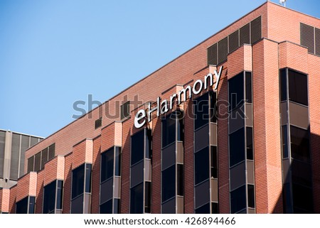 LOS ANGELES, CA/USA - May 20, 2016: Eharmony headquarters in Westwood, California. Eharmony is a dating web site oriented towards marriage-minded singles.