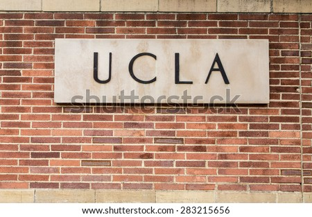 LOS ANGELES, CA/USA - MAY 25, 2015: Entrance sign to UCLA campus. UCLA is a public research university located in the Westwood neighborhood of Los Angeles, California, United States. - stock photo