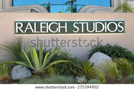 LOS ANGELES, CA/USA - MAY 2, 2015: Raleigh Studios entrance and sign. Raleigh Studios is a motion picture studio in California. - stock photo