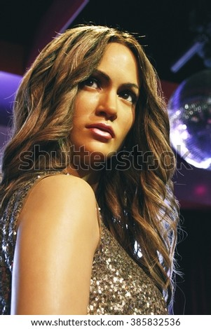 Los Angeles, CA, USA - 28 Oct 2013: Madame Tussauds Hollywood figures - Jennifer Lopez.