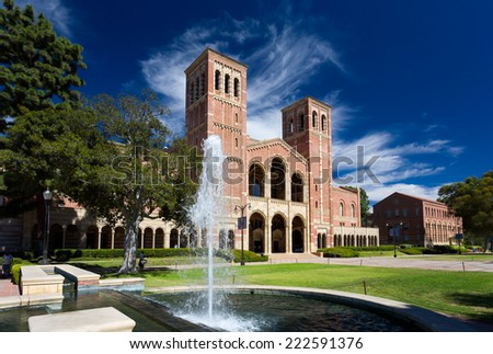 LOS ANGELES, CA/USA  - OCTOBER 4, 2014: Royce Hall on the campus of UCLA. Royce Hall is one of four original buildings on UCLA's Westwood campus. - stock photo