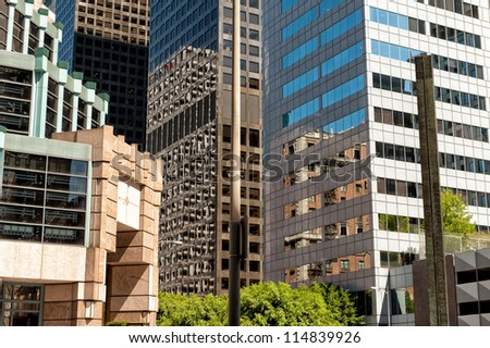 LOS ANGELES, CA, USA - SEPTEMBER 24: Office buildings in downtown LA on September 24, 2012 in Los Angeles, CA. Downtown Los Angeles is the central business and financial district in Los Angeles. - stock photo