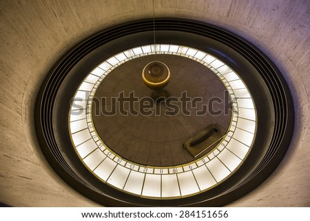 LOS ANGELES, CALIFORNIA - APRIL 12, 2015 : Interiors and architectural details of the Griffith observatory, in Los Angeles, California, United States