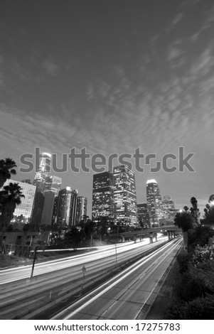 Los Angeles, California at night - stock photo