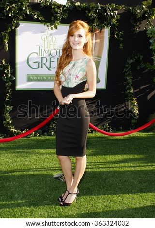 LOS ANGELES, CALIFORNIA - August 6, 2012. Bella Thorne at the Los Angeles premiere of 'The Odd Life Of Timothy Green' held at the El Capitan Theater, Los Angeles.  - stock photo