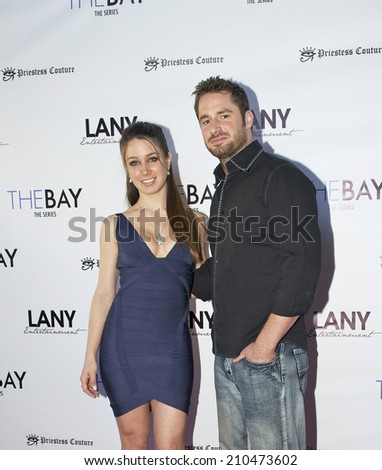"LOS ANGELES/CALIFORNIA - AUGUST 4, 2014: Celeste Fianna & Dan Fugardi walk the red carpet at ""The Bay"" Red Carpet Extravaganza hosted by LANY Entertainment August 4, 2014 Hollywood, California USA"