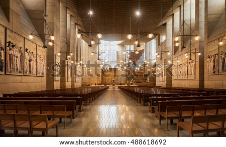 LOS ANGELES, CALIFORNIA - AUGUST 3: Interior and nave of the Cathedral of Our Lady of the Angels on Temple Street on August 3, 2016 in Los Angeles, California