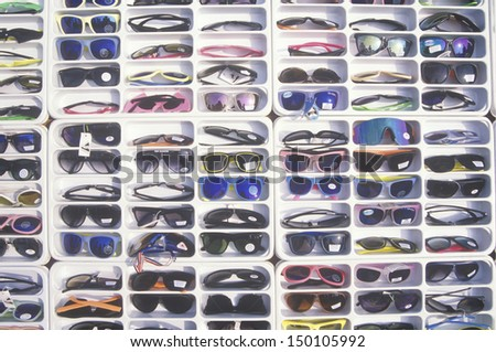 LOS ANGELES, CALIFORNIA - CIRCA 1990'S: Sunglasses for sale, Los Angeles, California