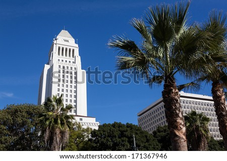 Los Angeles, California City Hall in Downtown LA. - stock photo