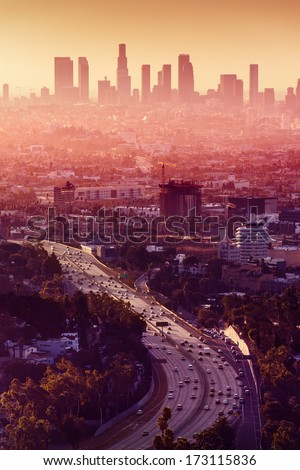 Los Angeles - California City Skyline at sunset witch skyscrapers in background. - stock photo