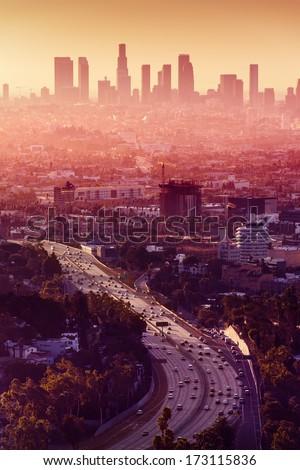 Los Angeles - California City Skyline. Los Angeles downtown. Los Angeles City. Los Angeles highway. Los Angeles at night. Los Angeles skyscrapers. Los Angeles panorama - stock photo
