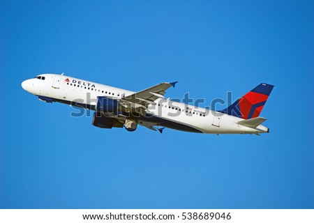 LOS ANGELES/CALIFORNIA - DEC. 17, 2016: Delta Air Lines Airbus A320-212 aircraft is airborne as it departs Los Angeles International Airport, Los Angeles, California USA