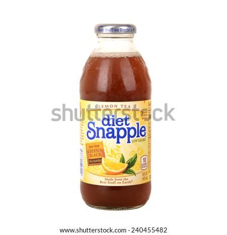 Los Angeles,California Dec 10th 2014:Nice Image Of Snapple Lemon Tea - stock photo