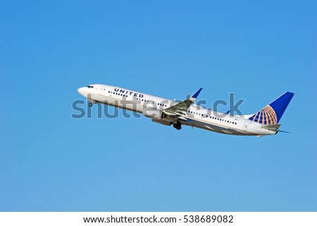 LOS ANGELES/CALIFORNIA - DEC. 17, 2016: United Airlines Boeing 737-924 aircraft is airborne as it departs Los Angeles International Airport, Los Angeles, California USA