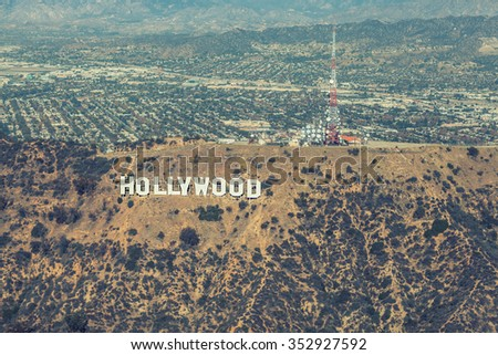 Los Angeles, California - December 08: Aerial view of the Hollywood sign and Griffith park, December 08 2015 in Hollywood, California, USA. - stock photo