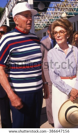 LOS ANGELES, CALIFORNIA - EXACT DATE UNKNOWN - CIRCA 1990 - Ronald & Nancy Reagan attend a celebrity event - stock photo