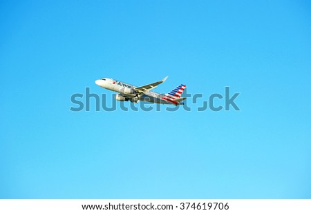 LOS ANGELES/CALIFORNIA - FEB. 7, 2016: American Airlines Boeing 737-824 is airborne as it departs Los Angeles International Airport, Los Angeles, California USA - stock photo
