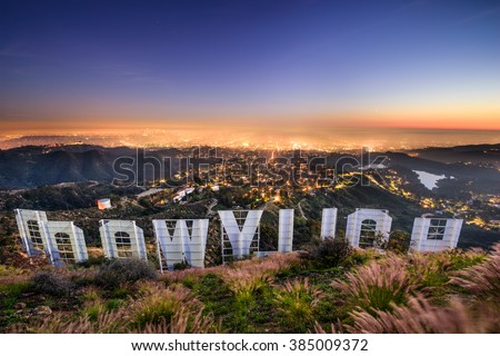 LOS ANGELES, CALIFORNIA - FEBRUARY 29, 2016: The Hollywood sign overlooking Los Angeles. The iconic sign was originally created in 1923. - stock photo