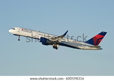 LOS ANGELES/CALIFORNIA - JAN 27, 2017: Delta Air Lines Boeing 757-2Q8 aircraft is airborne as it departs Los Angeles International Airport, Los Angeles, California USA
