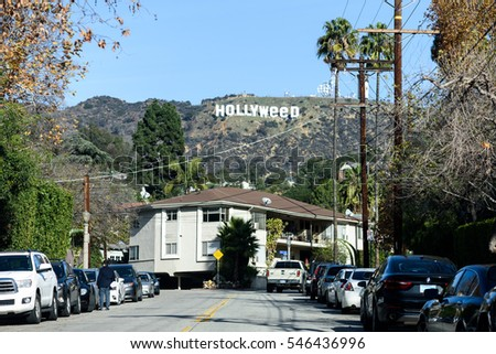 Los Angeles, California - January 01, 2017: Hollywood sign vandalized to read 'Hollyweed' on January 01, 2017 in Los Angeles, CA