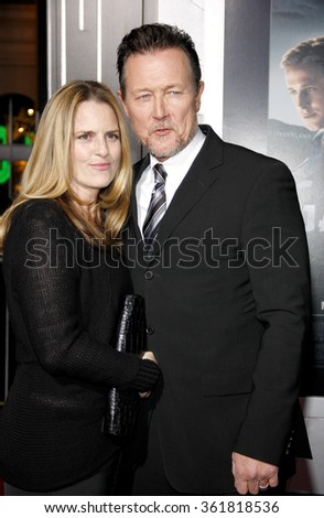 LOS ANGELES, CALIFORNIA - January 7, 2013. Robert Patrick and Barbara Patrick at the Los Angeles premiere of 'Gangster Squad' held at the Grauman's Chinese Theatre in Los Angeles.   - stock photo