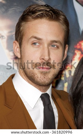 LOS ANGELES, CALIFORNIA - January 7, 2013. Ryan Gosling at the Los Angeles premiere of 'Gangster Squad' held at the Grauman's Chinese Theatre in Los Angeles.  - stock photo