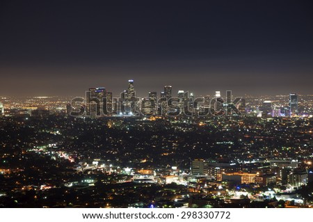 Los Angeles, California - July 17, 2015. Night view of LA downtown from Griffith Observatory.