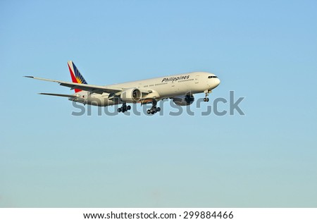LOS ANGELES/CALIFORNIA - JULY 12, 2015: Philippine Airlines Boeing 777-300 on approach to runway at Los Angeles International Airport in Los Angeles, California, USA - stock photo