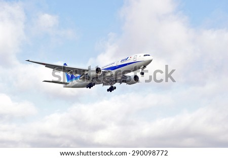 LOS ANGELES/CALIFORNIA - JUNE 13, 2015: ANA (All Nippon Airways) commercial jet on approach to runway at Los Angeles International Airport in Los Angeles, California, USA
