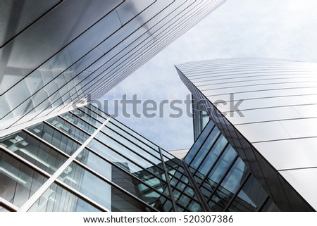 LOS ANGELES, CALIFORNIA - JUNE 5, 2016:  Architectural detail of the landmark Disney Concert Hall, showcasing the blending of steel and glass.