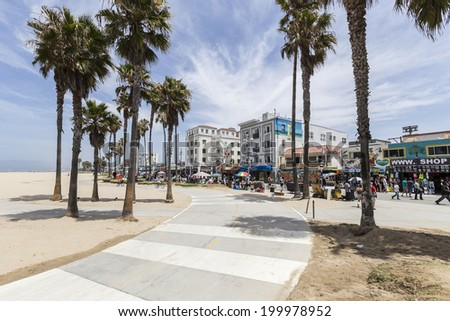 LOS ANGELES, CALIFORNIA - June 20, 2014:  Sunny skies and palm trees along the popular Venice Beach bike path in Los Angeles, California. - stock photo