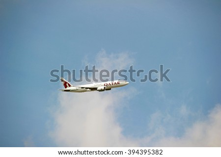LOS ANGELES/CALIFORNIA - MARCH 14, 2016: Qatar Airways commercial passenger jet approaching Los Angeles International Airport to make a landing. Los Angeles, California USA - stock photo
