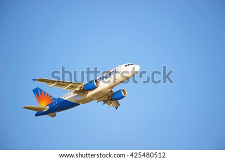 LOS ANGELES/CALIFORNIA - MAY 22, 2016: Allegiant Airlines Airbus 319 commercial aircraft is airborne as it departs Los Angeles International Airport, Los Angeles, California USA - stock photo