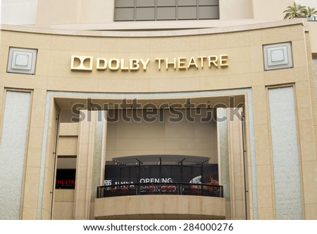 LOS ANGELES, CALIFORNIA - MAY 22, 2015: Facade of the Dolby Theatre a famous landmark of Hollywood where every year the Academy Awards are host, honoring the best movies of the previous year.