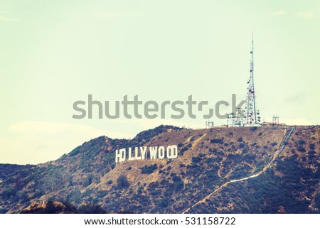 LOS ANGELES, CALIFORNIA - OCTOBER 27, 2016: Hollywood sign in vintage tone, California