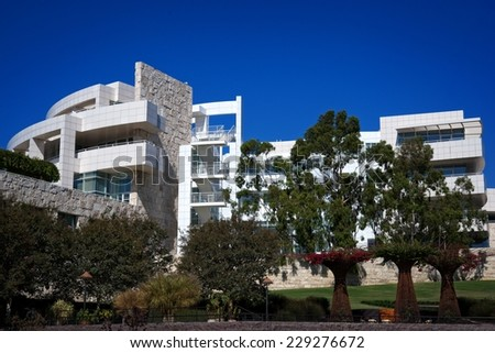 LOS ANGELES, CALIFORNIA OCTOBER 09, 2014: Panoramic of the Getty Museum. Its estimated 1.3 million visitors annually make it one of the most visited museums in the United States, on October 9, 2014.  - stock photo