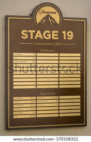 LOS ANGELES, CALIFORNIA - 7 SEPTEMBER 2014: Paramount Pictures motion picture studio Stage 19 board with names of films shot here. California, USA - stock photo