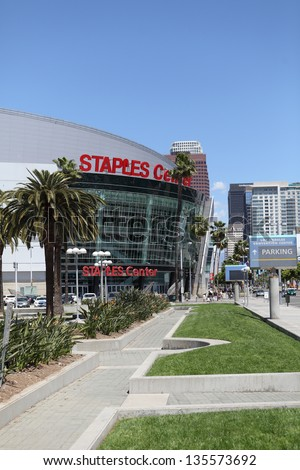 LOS ANGELES, CALIFORNIA, USA - APRIL 16, : The Staples Center in Downtown Los Angeles on April 16, 2013. It is 950,000 SF and is home to the Lakers team and seats up to 19,060 for basketball - stock photo