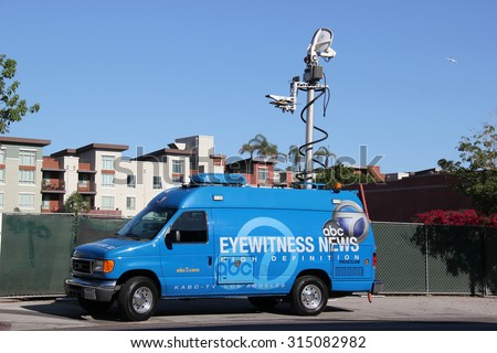 Los Angeles, California, USA - August 16, 2015: Broadcasting vehicle of American Broadcasting Company (ABC) is preparing to report a news. - stock photo