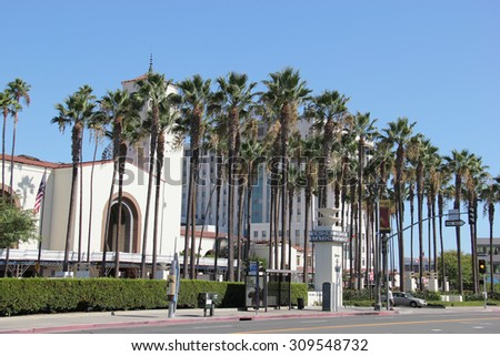 Los Angeles, California, USA - August 14, 2015: Los Angeles Union Station, a major transportation hub for Southern California, is the largest railroad passenger terminal in the Western United States. - stock photo
